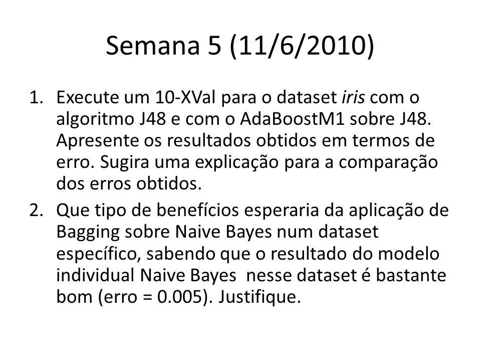Semana 5 (11/6/2010) 1.Execute um 10-XVal para o dataset iris com o algoritmo J48 e com o AdaBoostM1 sobre J48.