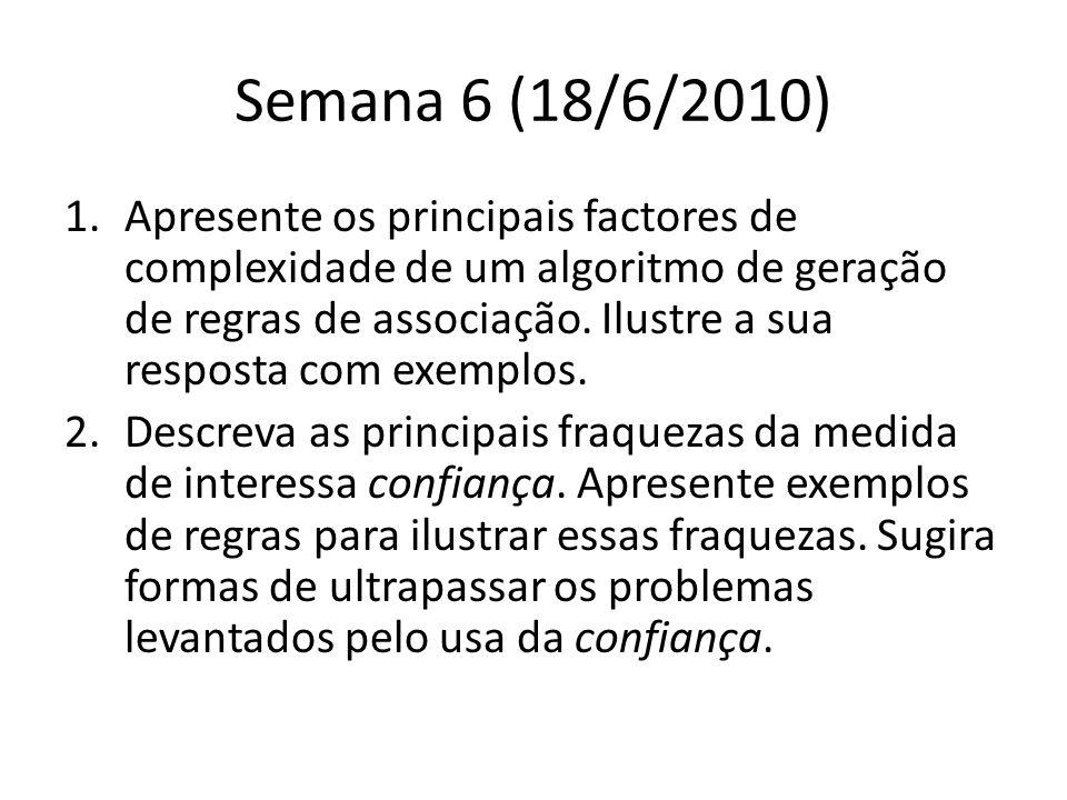 Semana 6 (18/6/2010) 1.Apresente os principais factores de complexidade de um algoritmo de geração de regras de associação.
