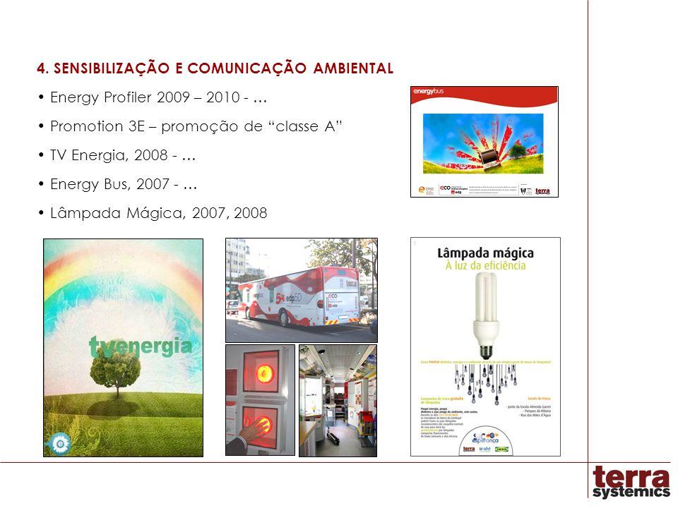 4. SENSIBILIZAÇÃO E COMUNICAÇÃO AMBIENTAL Energy Profiler 2009 – 2010 - … Promotion 3E – promoção de classe A TV Energia, 2008 - … Energy Bus, 2007 -