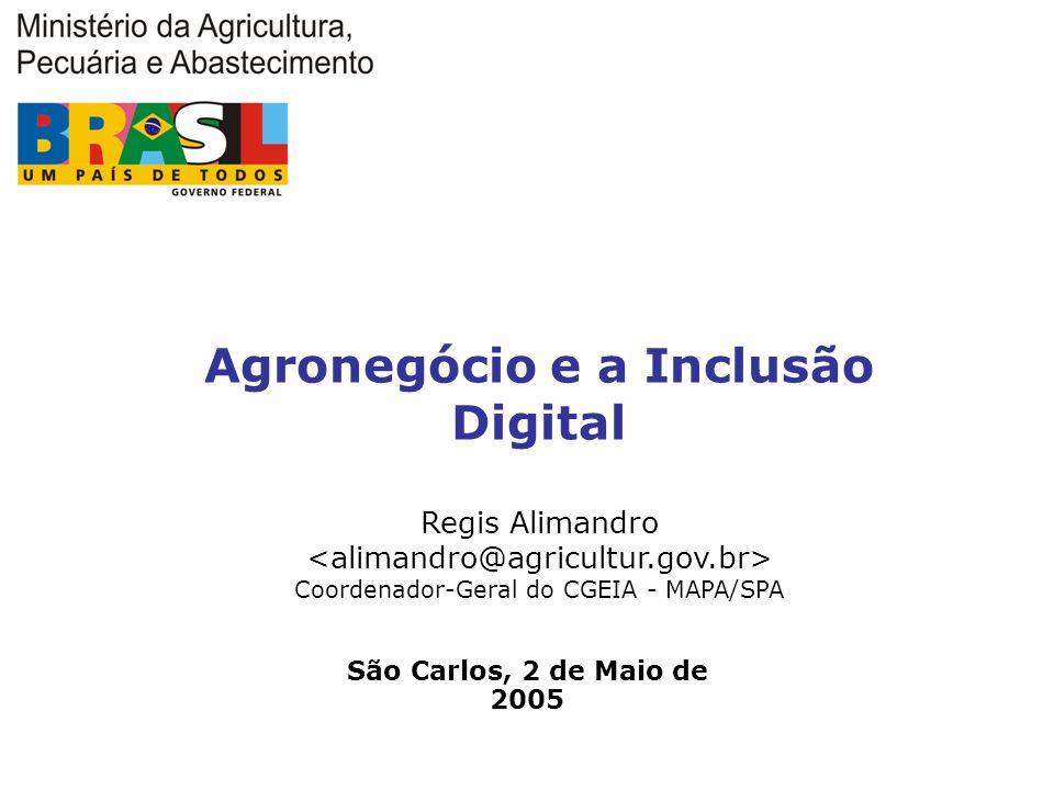 Agronegócio e a Inclusão Digital Regis Alimandro Coordenador-Geral do CGEIA - MAPA/SPA São Carlos, 2 de Maio de 2005