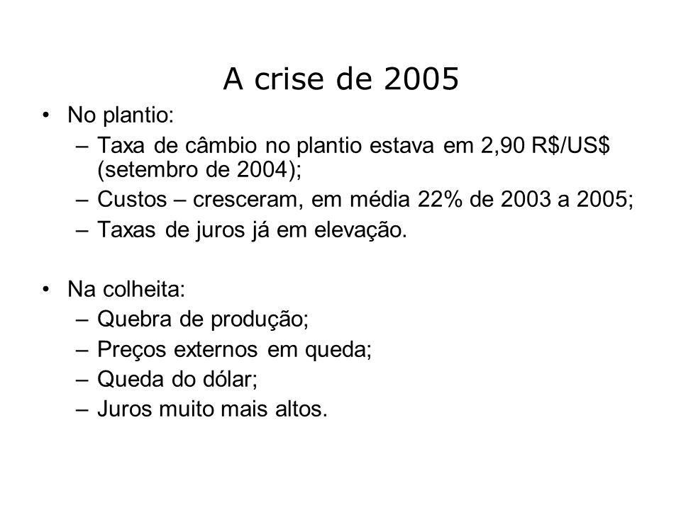 A crise de 2005 No plantio: –Taxa de câmbio no plantio estava em 2,90 R$/US$ (setembro de 2004); –Custos – cresceram, em média 22% de 2003 a 2005; –Ta