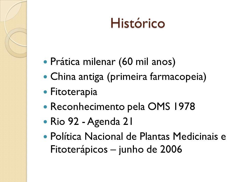 Histórico Prática milenar (60 mil anos) China antiga (primeira farmacopeia) Fitoterapia Reconhecimento pela OMS 1978 Rio 92 - Agenda 21 Política Nacional de Plantas Medicinais e Fitoterápicos – junho de 2006