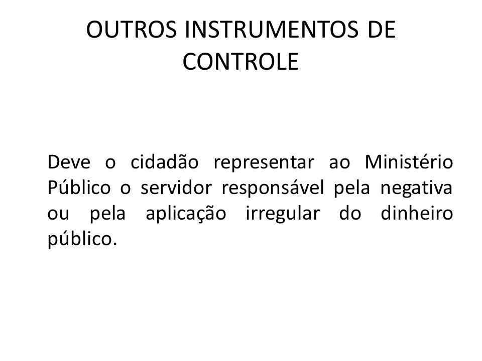 OUTROS INSTRUMENTOS DE CONTROLE Deve o cidadão representar ao Ministério Público o servidor responsável pela negativa ou pela aplicação irregular do d