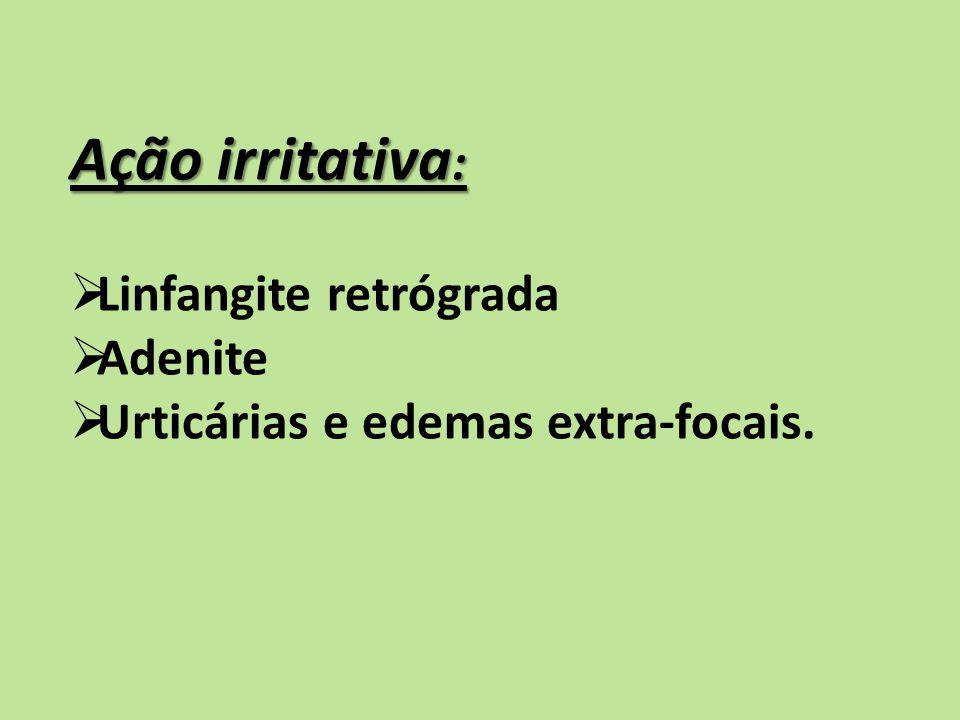 Ação irritativa : Linfangite retrógrada Adenite Urticárias e edemas extra-focais.