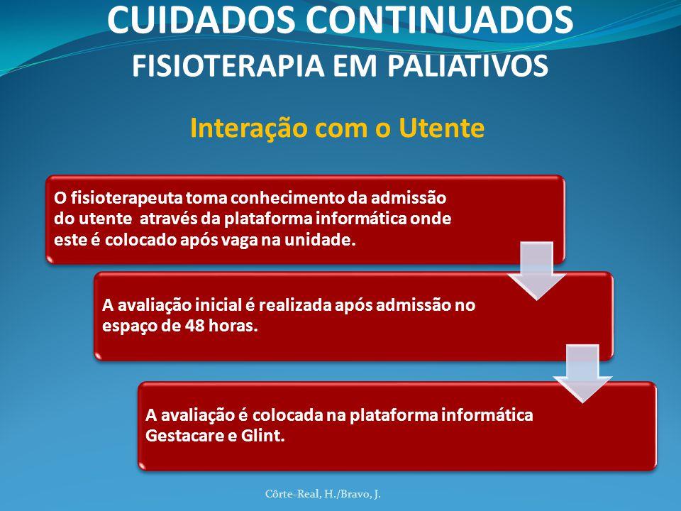 Côrte-Real, H./Bravo, J. CUIDADOS CONTINUADOS FISIOTERAPIA EM PALIATIVOS O fisioterapeuta toma conhecimento da admissão do utente através da plataform