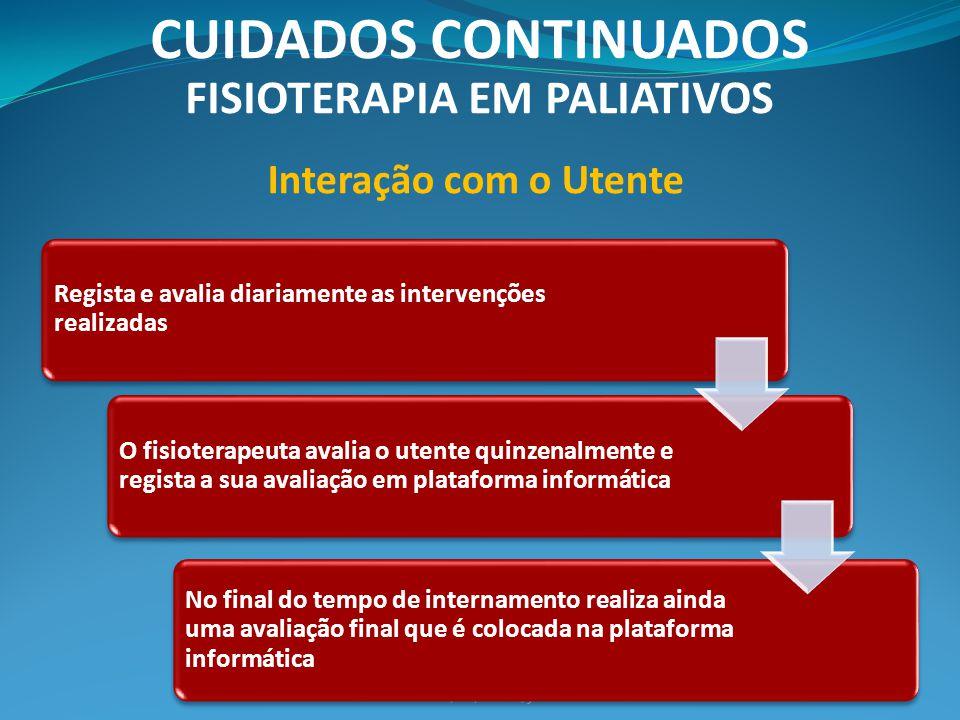 Côrte-Real, H./Bravo, J. CUIDADOS CONTINUADOS FISIOTERAPIA EM PALIATIVOS Regista e avalia diariamente as intervenções realizadas O fisioterapeuta aval
