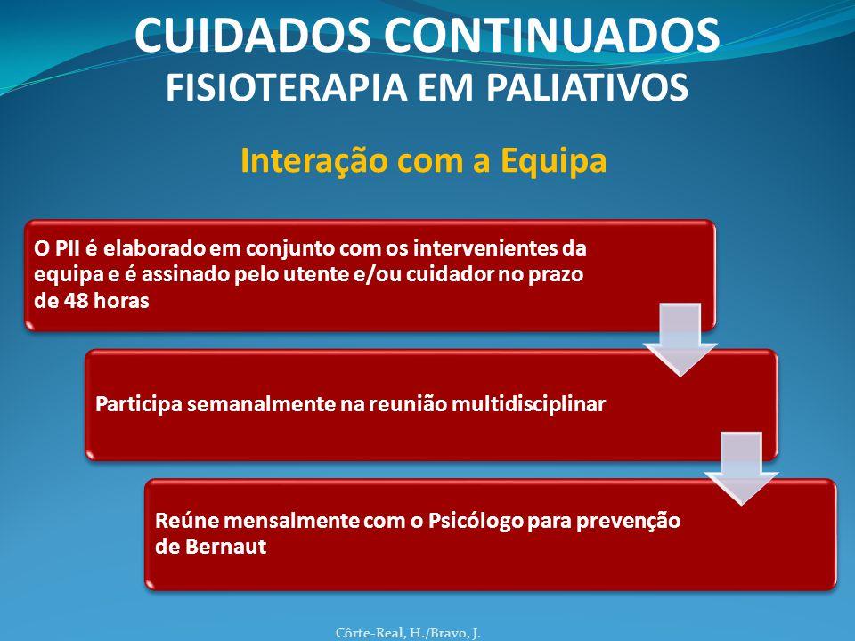 O PII é elaborado em conjunto com os intervenientes da equipa e é assinado pelo utente e/ou cuidador no prazo de 48 horas Participa semanalmente na reunião multidisciplinar Reúne mensalmente com o Psicólogo para prevenção de Bernaut Côrte-Real, H./Bravo, J.
