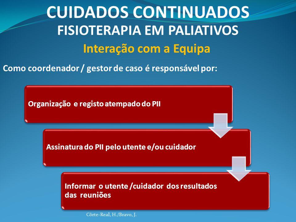 Organização e registo atempado do PIIAssinatura do PII pelo utente e/ou cuidador Informar o utente /cuidador dos resultados das reuniões Côrte-Real, H