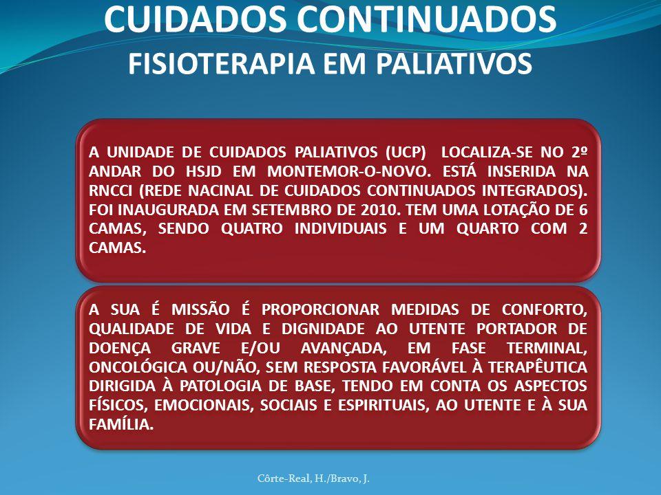 Côrte-Real, H./Bravo, J. CUIDADOS CONTINUADOS FISIOTERAPIA EM PALIATIVOS A UNIDADE DE CUIDADOS PALIATIVOS (UCP) LOCALIZA-SE NO 2º ANDAR DO HSJD EM MON