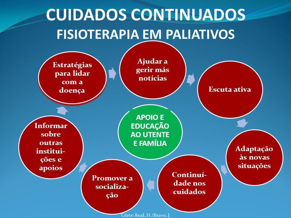 Côrte-Real, H./Bravo, J. CUIDADOS CONTINUADOS FISIOTERAPIA EM PALIATIVOS Ajudar a gerir más notícias Escuta ativa Adaptação às novas situações Continu