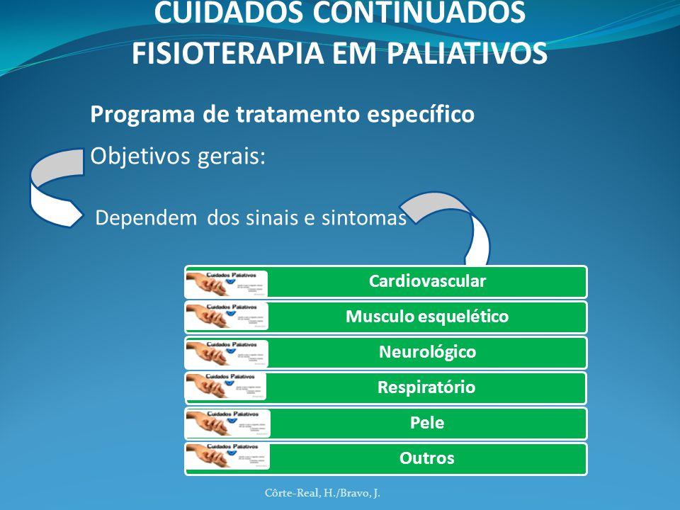 Programa de tratamento específico Objetivos gerais: Dependem dos sinais e sintomas Côrte-Real, H./Bravo, J. CUIDADOS CONTINUADOS FISIOTERAPIA EM PALIA