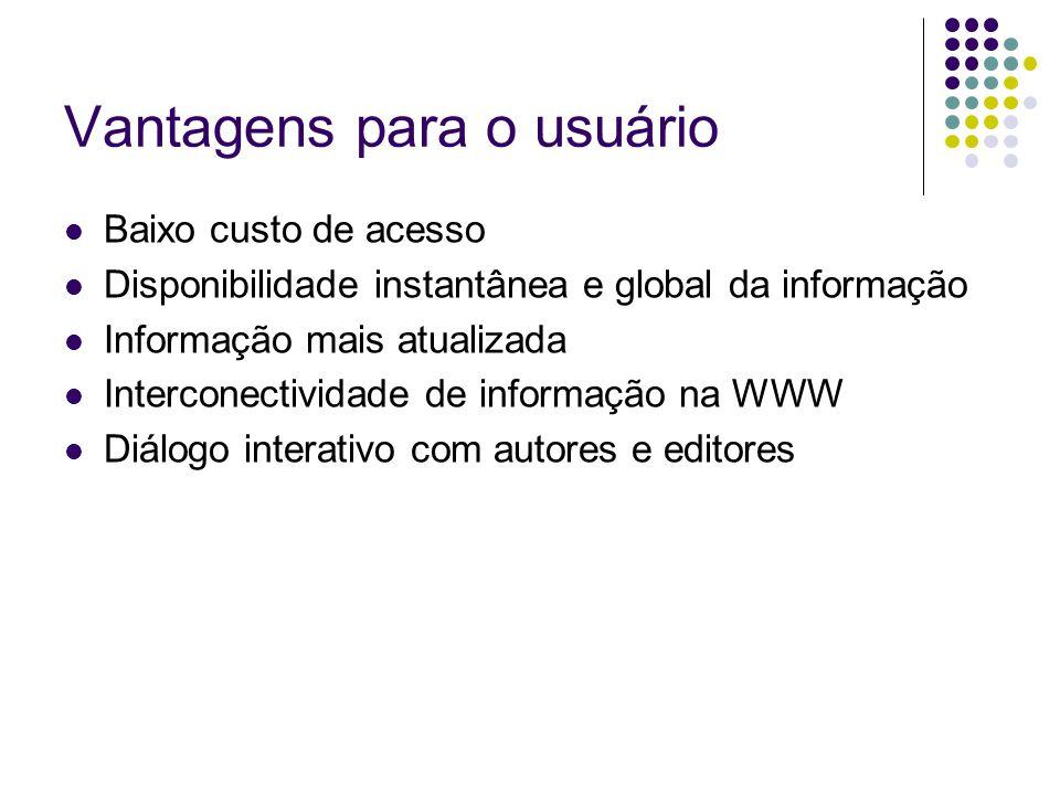 Vantagens para o usuário Baixo custo de acesso Disponibilidade instantânea e global da informação Informação mais atualizada Interconectividade de inf