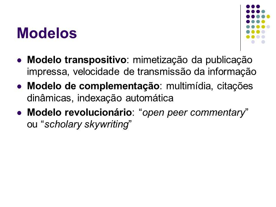 Modelos Modelo transpositivo: mimetização da publicação impressa, velocidade de transmissão da informação Modelo de complementação: multimídia, citações dinâmicas, indexação automática Modelo revolucionário: open peer commentary ou scholary skywriting