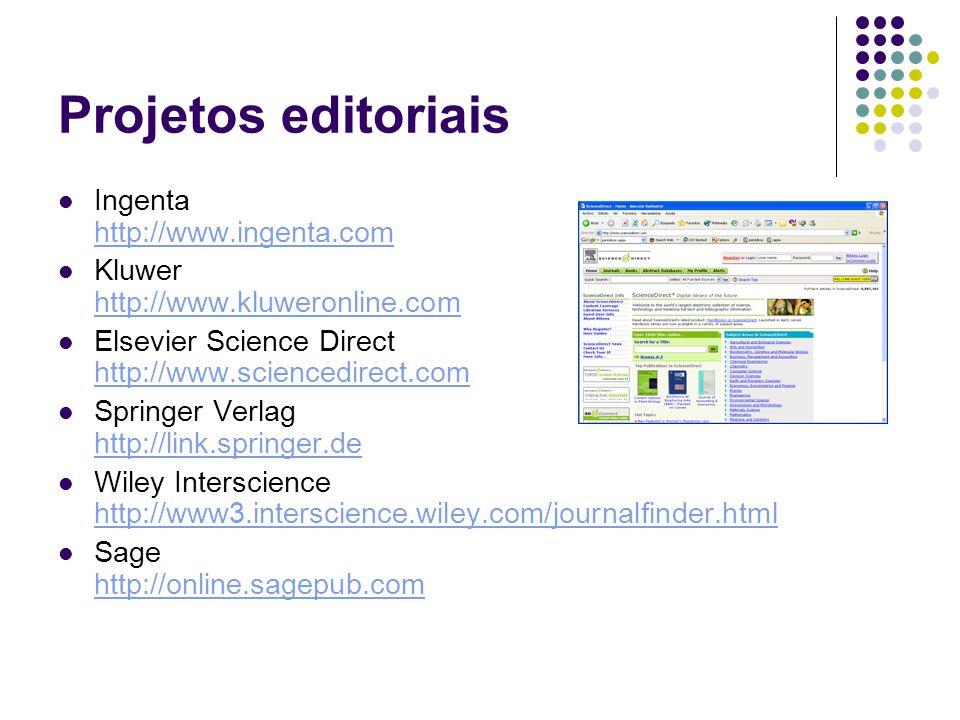 Projetos editoriais Ingenta http://www.ingenta.com http://www.ingenta.com Kluwer http://www.kluweronline.com http://www.kluweronline.com Elsevier Science Direct http://www.sciencedirect.com http://www.sciencedirect.com Springer Verlag http://link.springer.de http://link.springer.de Wiley Interscience http://www3.interscience.wiley.com/journalfinder.html http://www3.interscience.wiley.com/journalfinder.html Sage http://online.sagepub.com http://online.sagepub.com