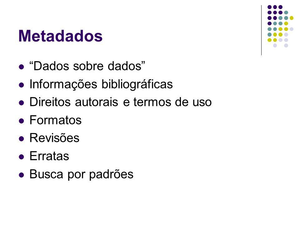 Metadados Dados sobre dados Informações bibliográficas Direitos autorais e termos de uso Formatos Revisões Erratas Busca por padrões