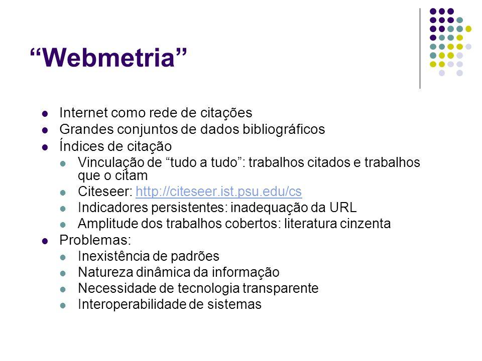 Webmetria Internet como rede de citações Grandes conjuntos de dados bibliográficos Índices de citação Vinculação de tudo a tudo: trabalhos citados e trabalhos que o citam Citeseer: http://citeseer.ist.psu.edu/cshttp://citeseer.ist.psu.edu/cs Indicadores persistentes: inadequação da URL Amplitude dos trabalhos cobertos: literatura cinzenta Problemas: Inexistência de padrões Natureza dinâmica da informação Necessidade de tecnologia transparente Interoperabilidade de sistemas