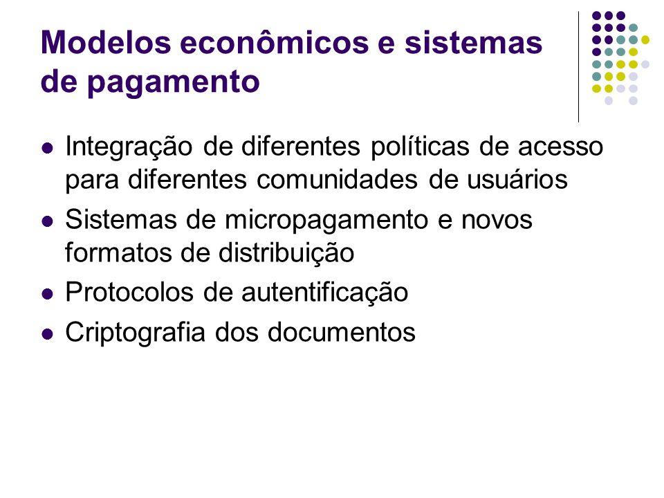 Modelos econômicos e sistemas de pagamento Integração de diferentes políticas de acesso para diferentes comunidades de usuários Sistemas de micropagamento e novos formatos de distribuição Protocolos de autentificação Criptografia dos documentos