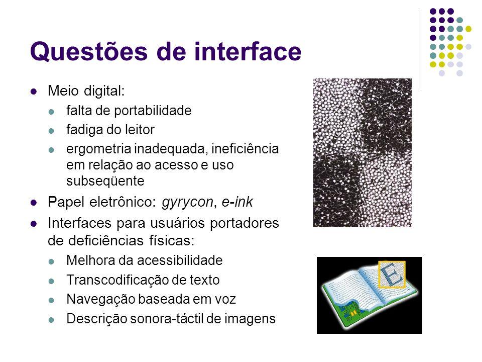 Questões de interface Meio digital: falta de portabilidade fadiga do leitor ergometria inadequada, ineficiência em relação ao acesso e uso subseqüente