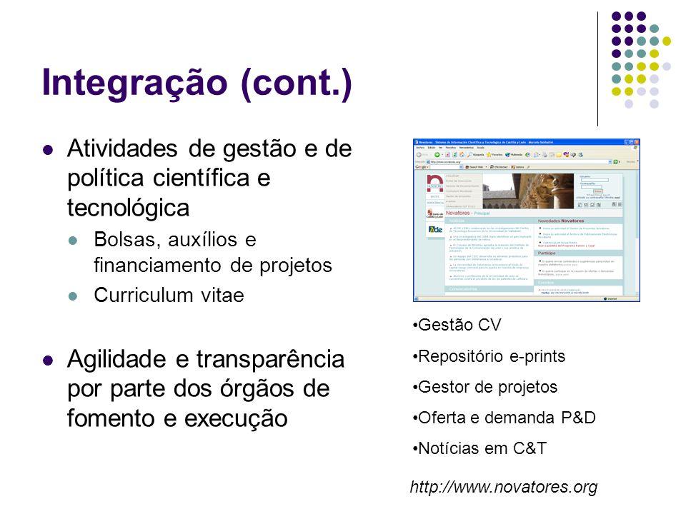 Integração (cont.) Atividades de gestão e de política científica e tecnológica Bolsas, auxílios e financiamento de projetos Curriculum vitae Agilidade