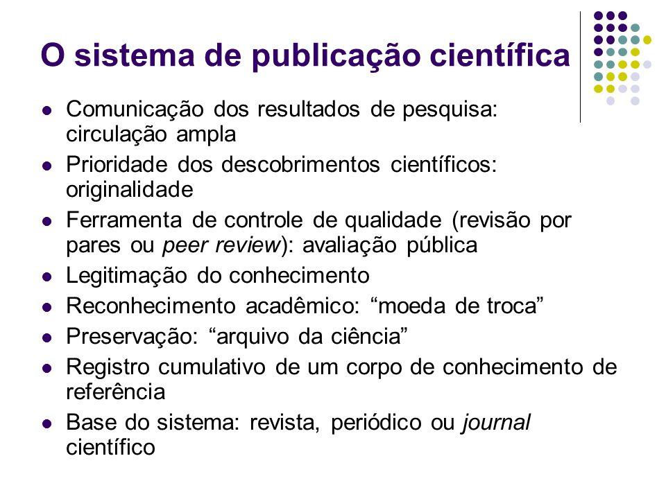 O sistema de publicação científica Comunicação dos resultados de pesquisa: circulação ampla Prioridade dos descobrimentos científicos: originalidade F
