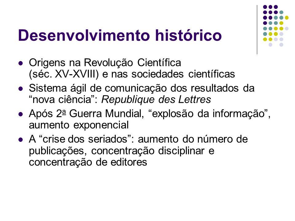 Desenvolvimento histórico Origens na Revolução Científica (séc. XV-XVIII) e nas sociedades científicas Sistema ágil de comunicação dos resultados da n