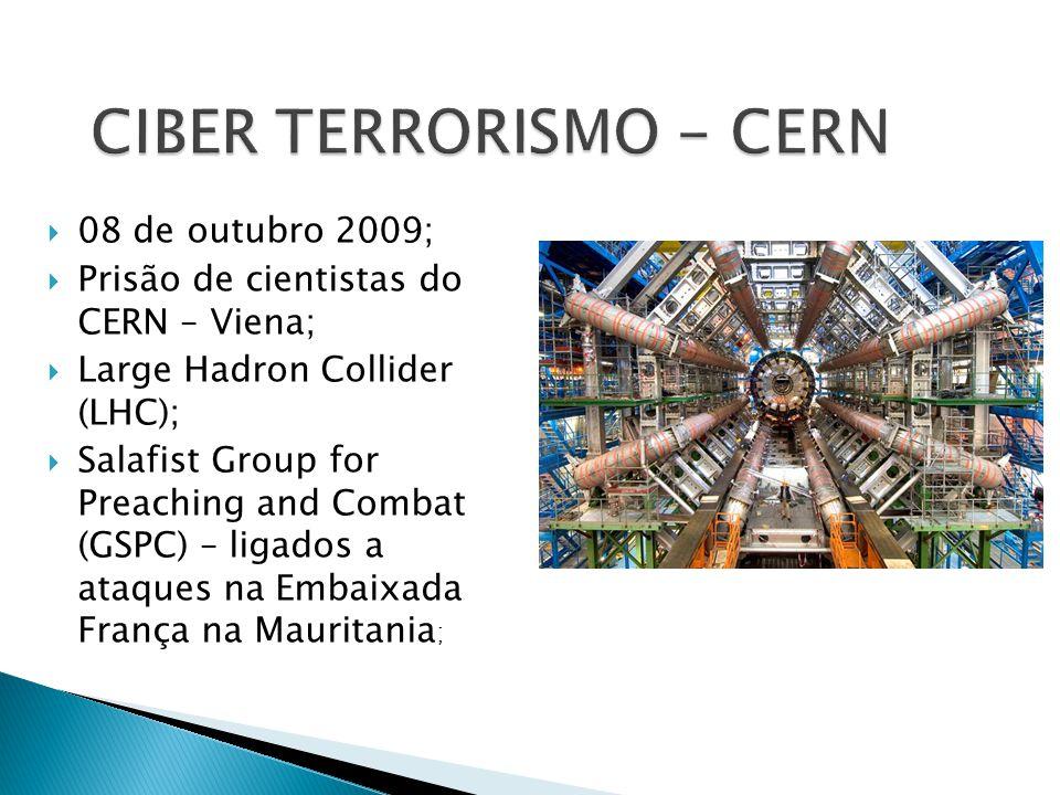 08 de outubro 2009; Prisão de cientistas do CERN – Viena; Large Hadron Collider (LHC); Salafist Group for Preaching and Combat (GSPC) – ligados a ataq