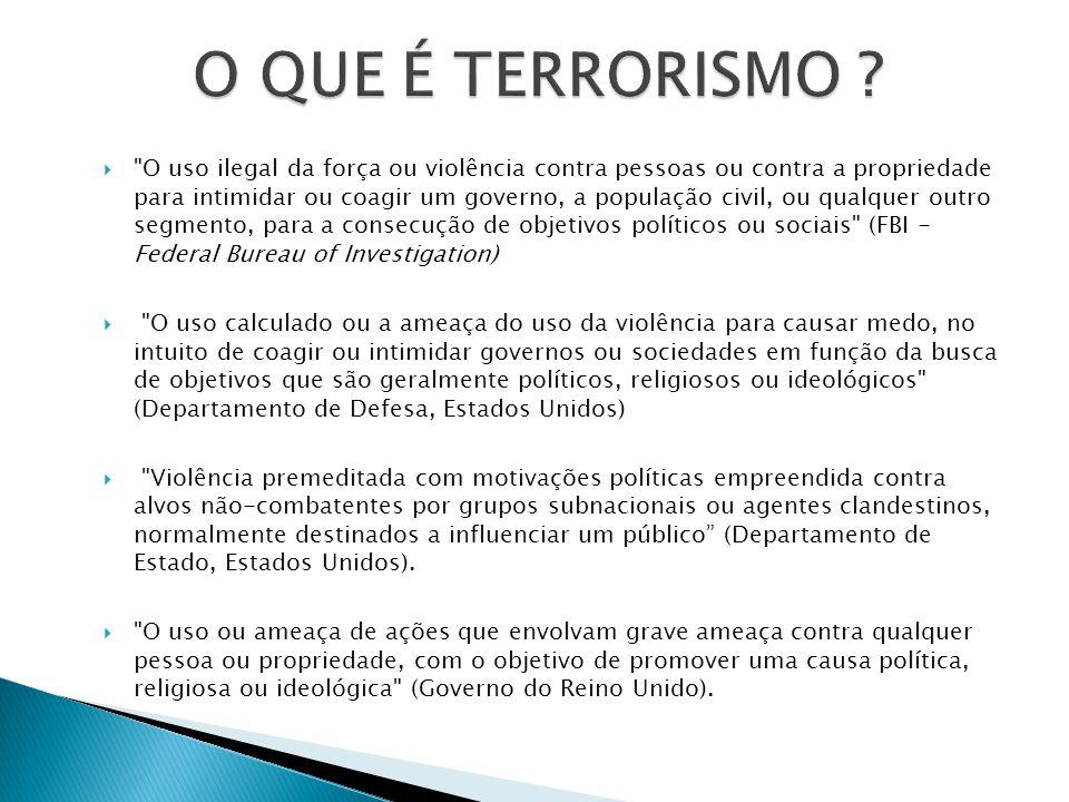 MEIOS ORGANIZAÇÕES NÃO ESTATAIS (?) ESTRUTURA CELULAR E/OU HIERARQUICA BUSCA POR MUDANÇAS DE STATUS POLÍTICO (IDEOLÓGICO OU RELIGIOSO) PREFERÊNCIA POR ALVOS CIVIS DO QUE MILITARES ( PARA E COM)