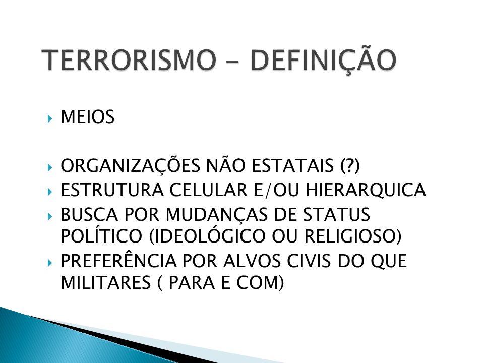MEIOS ORGANIZAÇÕES NÃO ESTATAIS (?) ESTRUTURA CELULAR E/OU HIERARQUICA BUSCA POR MUDANÇAS DE STATUS POLÍTICO (IDEOLÓGICO OU RELIGIOSO) PREFERÊNCIA POR