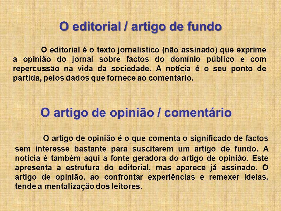 O editorial / artigo de fundo O editorial é o texto jornalístico (não assinado) que exprime a opinião do jornal sobre factos do domínio público e com