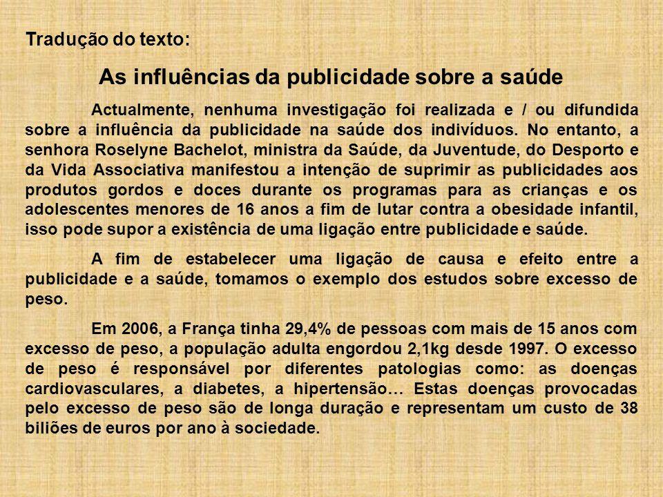 Tradução do texto: As influências da publicidade sobre a saúde Actualmente, nenhuma investigação foi realizada e / ou difundida sobre a influência da