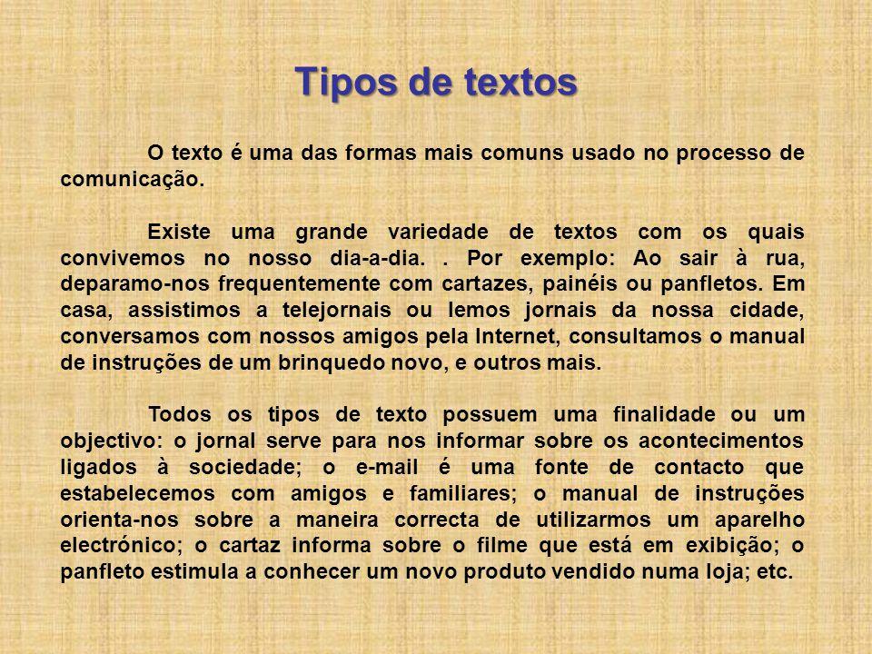 Tipos de textos O texto é uma das formas mais comuns usado no processo de comunicação. Existe uma grande variedade de textos com os quais convivemos n