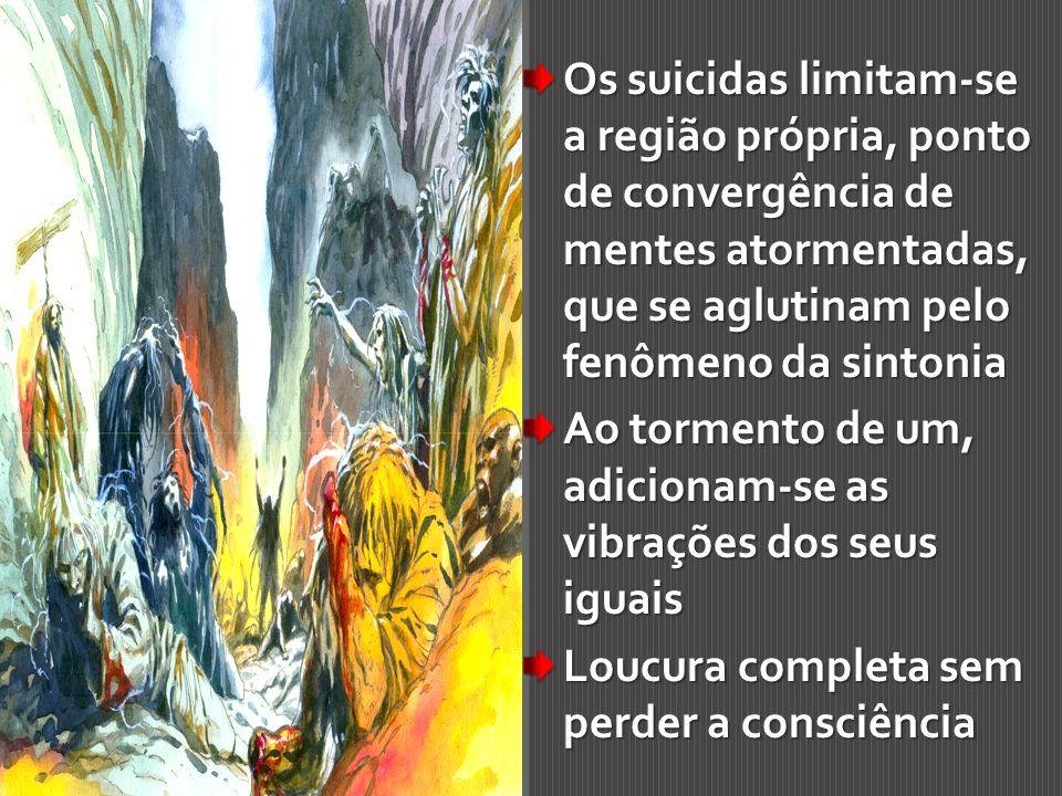Os suicidas limitam-se a região própria, ponto de convergência de mentes atormentadas, que se aglutinam pelo fenômeno da sintonia Ao tormento de um, a