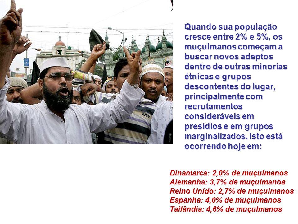 Quando sua população cresce entre 2% e 5%, os muçulmanos começam a buscar novos adeptos dentro de outras minorias étnicas e grupos descontentes do lugar, principalmente com recrutamentos consideráveis em presídios e em grupos marginalizados.