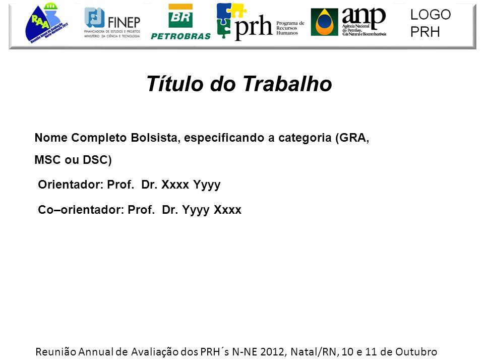 Nome Completo Bolsista, especificando a categoria (GRA, MSC ou DSC) Orientador: Prof.