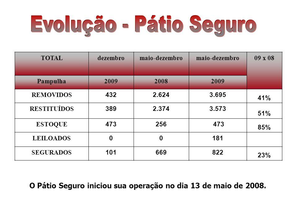 Em dezembro foram removidos para o Pátio 432 veículos e 8.186 desde maio/08.
