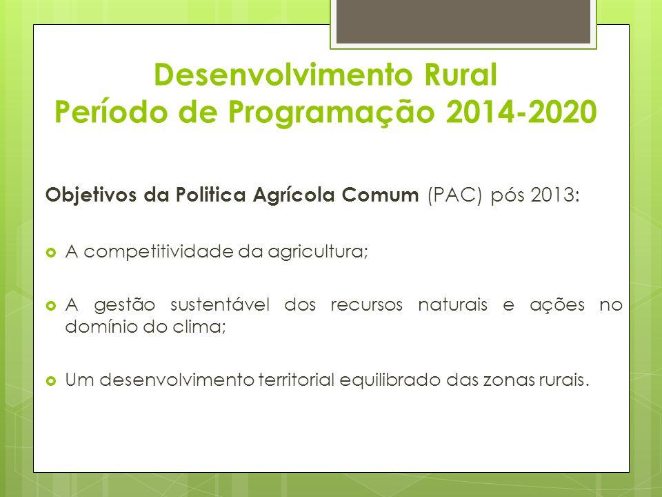 Desenvolvimento Rural Período de Programação 2014-2020 Objetivos da Politica Agrícola Comum (PAC) pós 2013: A competitividade da agricultura; A gestão