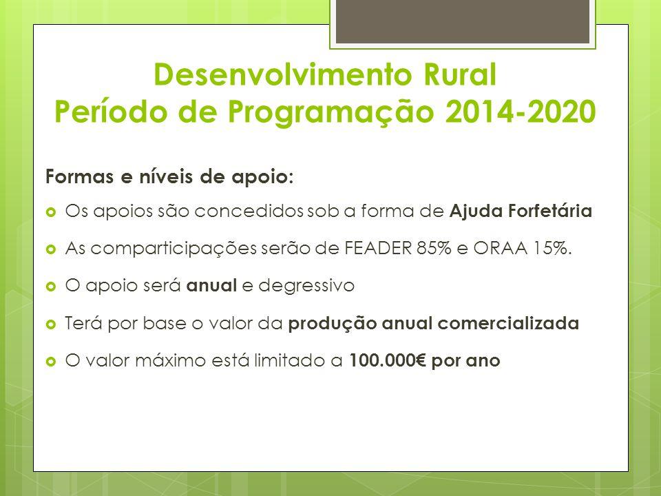 Desenvolvimento Rural Período de Programação 2014-2020 Formas e níveis de apoio: Os apoios são concedidos sob a forma de Ajuda Forfetária As compartic
