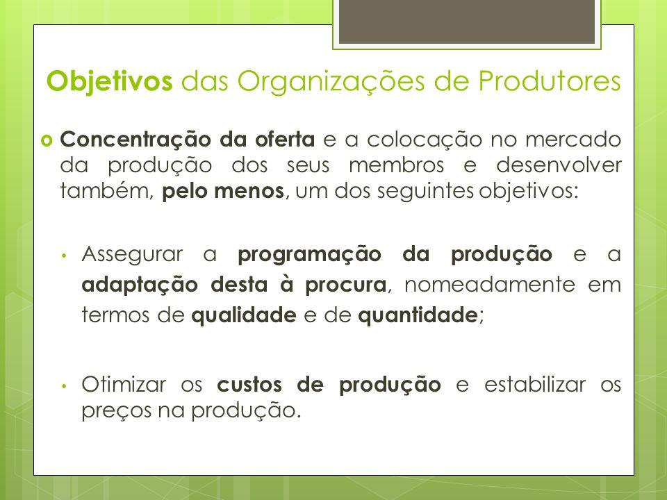 Objetivos das Organizações de Produtores Concentração da oferta e a colocação no mercado da produção dos seus membros e desenvolver também, pelo menos
