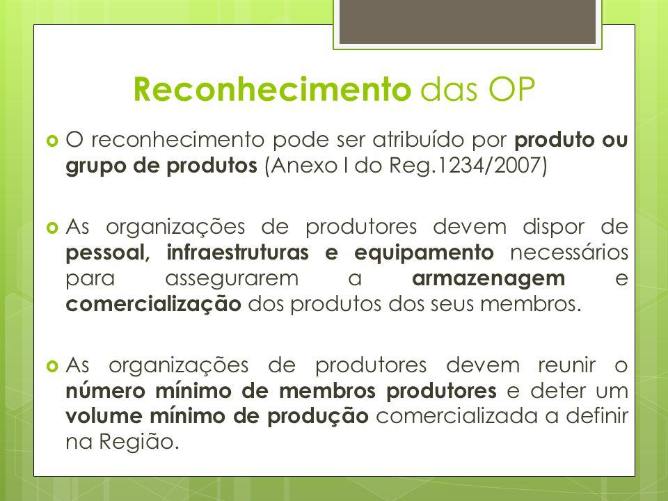 O reconhecimento pode ser atribuído por produto ou grupo de produtos (Anexo I do Reg.1234/2007) As organizações de produtores devem dispor de pessoal,
