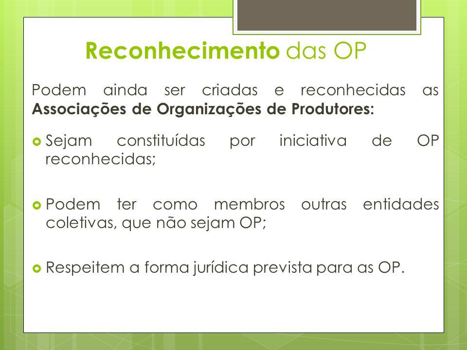 Reconhecimento das OP Podem ainda ser criadas e reconhecidas as Associações de Organizações de Produtores: Sejam constituídas por iniciativa de OP rec