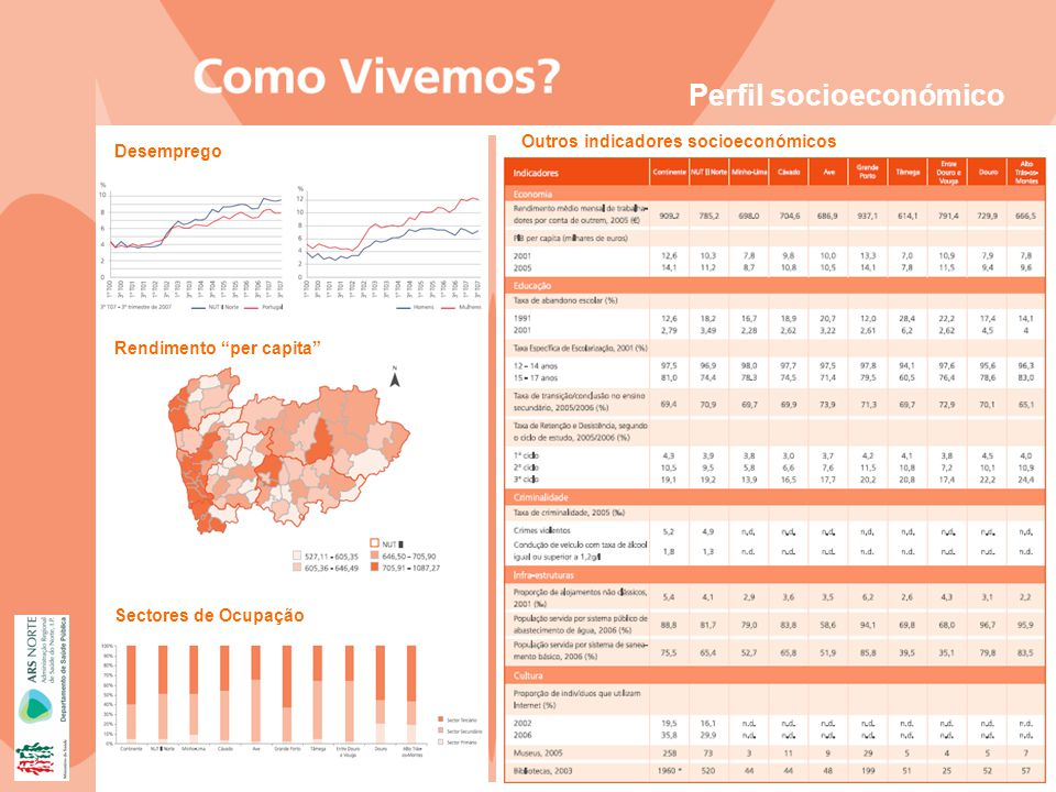 Desemprego Outros indicadores socioeconómicos Rendimento per capita Sectores de Ocupação Perfil socioeconómico
