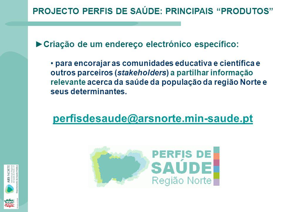 PROJECTO PERFIS DE SAÚDE: PRINCIPAIS PRODUTOS Criação de um endereço electrónico específico: para encorajar as comunidades educativa e científica e ou