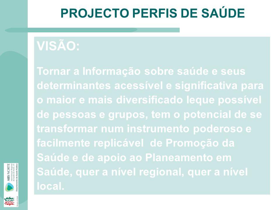 PROJECTO PERFIS DE SAÚDE VISÃO: Tornar a Informação sobre saúde e seus determinantes acessível e significativa para o maior e mais diversificado leque