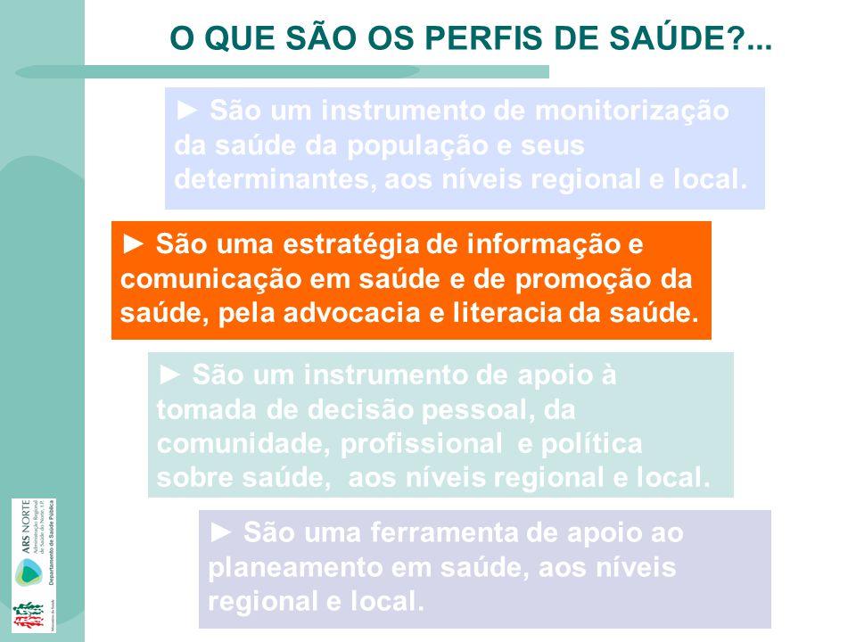 O QUE SÃO OS PERFIS DE SAÚDE?... São um instrumento de monitorização da saúde da população e seus determinantes, aos níveis regional e local. São uma