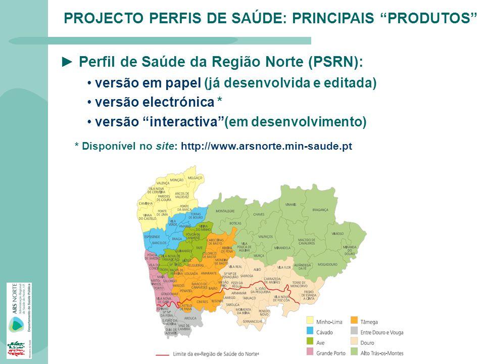 PROJECTO PERFIS DE SAÚDE: PRINCIPAIS PRODUTOS Perfil de Saúde da Região Norte (PSRN): versão em papel (já desenvolvida e editada) versão electrónica *