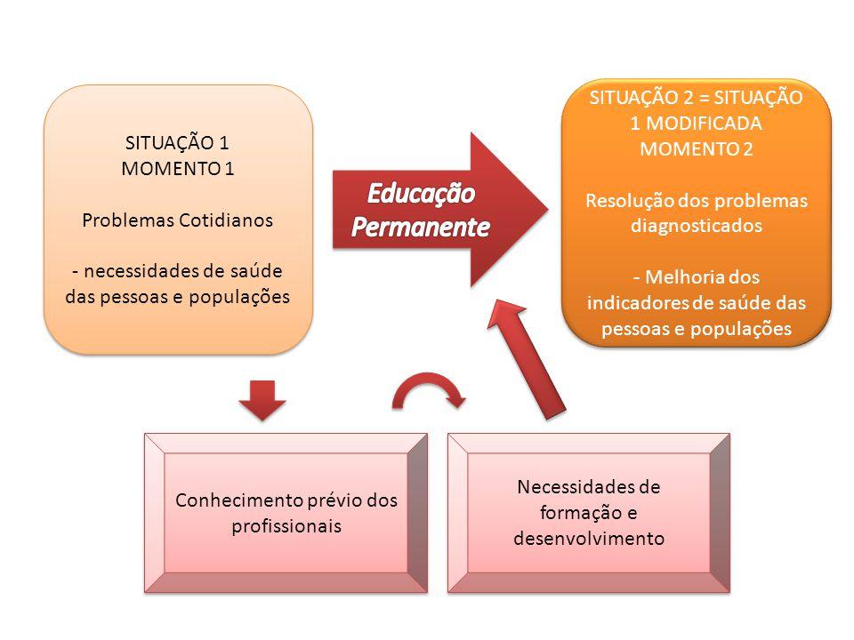 SITUAÇÃO 2 = SITUAÇÃO 1 MODIFICADA MOMENTO 2 Resolução dos problemas diagnosticados - Melhoria dos indicadores de saúde das pessoas e populações SITUAÇÃO 2 = SITUAÇÃO 1 MODIFICADA MOMENTO 2 Resolução dos problemas diagnosticados - Melhoria dos indicadores de saúde das pessoas e populações SITUAÇÃO 1 MOMENTO 1 Problemas Cotidianos - necessidades de saúde das pessoas e populações SITUAÇÃO 1 MOMENTO 1 Problemas Cotidianos - necessidades de saúde das pessoas e populações Conhecimento prévio dos profissionais Necessidades de formação e desenvolvimento