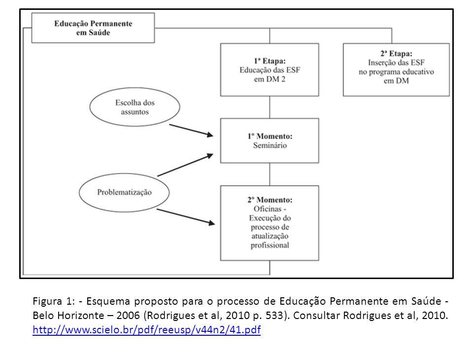 Figura 1: - Esquema proposto para o processo de Educação Permanente em Saúde - Belo Horizonte – 2006 (Rodrigues et al, 2010 p.