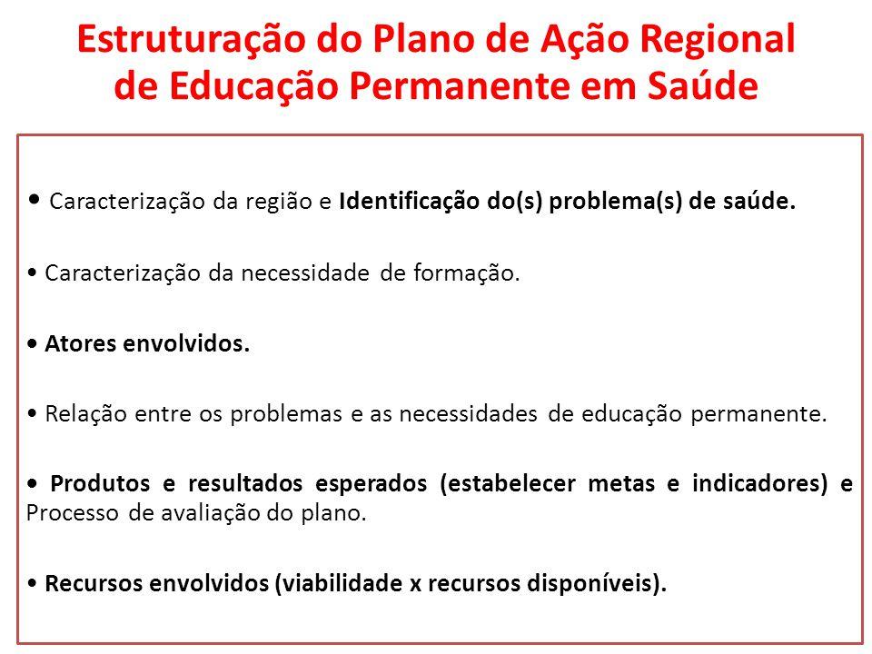 Estruturação do Plano de Ação Regional de Educação Permanente em Saúde Caracterização da região e Identificação do(s) problema(s) de saúde.