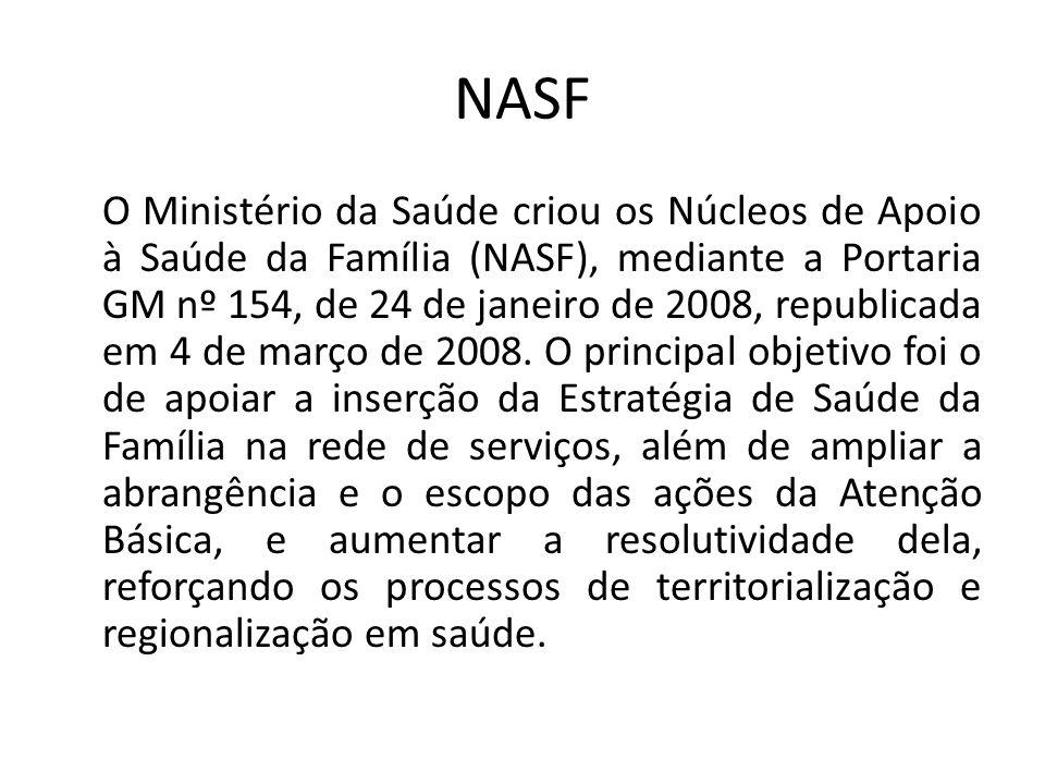 NASF O Ministério da Saúde criou os Núcleos de Apoio à Saúde da Família (NASF), mediante a Portaria GM nº 154, de 24 de janeiro de 2008, republicada em 4 de março de 2008.