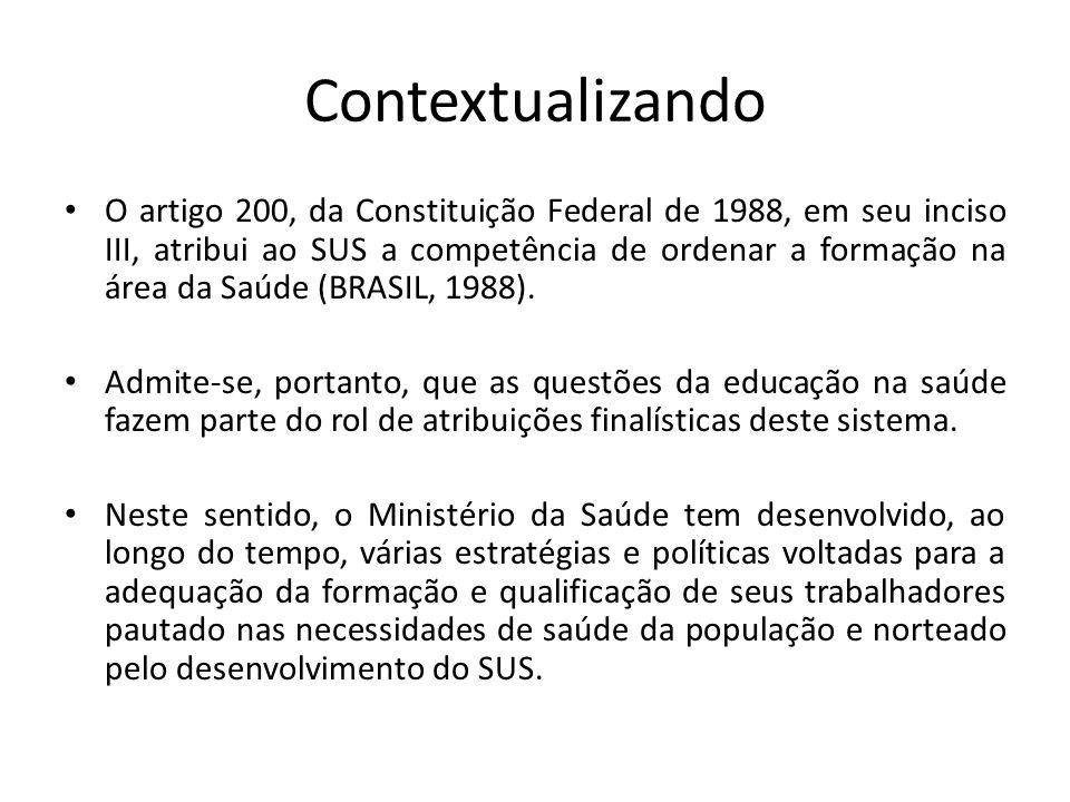 Contextualizando O artigo 200, da Constituição Federal de 1988, em seu inciso III, atribui ao SUS a competência de ordenar a formação na área da Saúde (BRASIL, 1988).